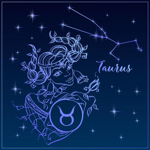 Zodiac tecken Taurus som en vacker tjej. Constellation of Taurus. Natthimlen. Horoskop. Astrologi. Vektor. vektor