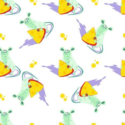 Maus mit Käse. Nahtloses Muster. Cartoon-Stil. Vektor