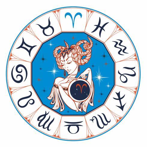 Zodiac sign Väduren som en vacker tjej. Horoskop. Astrologi. Segrare. vektor