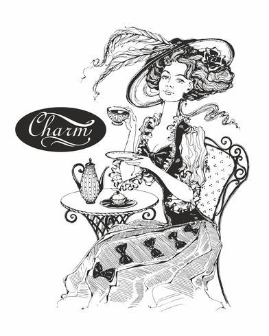Das Mädchen mit dem Hut und dem Vintage-Kleid. Dame trinkt Tee. Schöne Frau. Charme. Inschrift. Grafik. Schwarz-Weiss. Vektor