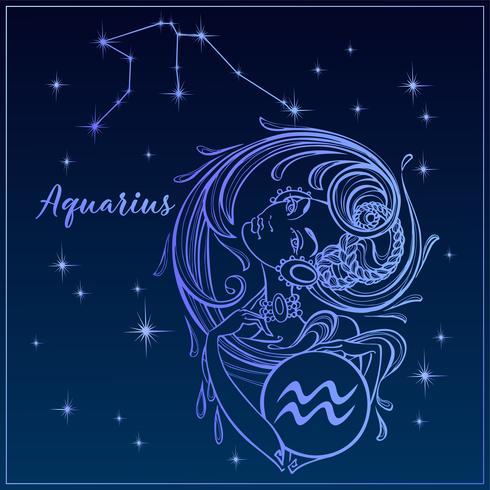 Zodiac sign Aquarius som en vacker tjej. Constellation of Aquarius. Natthimlen. Horoskop. Astrologi. Vektor. vektor