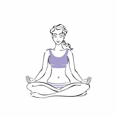 Tjej sitter i en Lotus position. Yoga. Meditation. Vektor illustration.