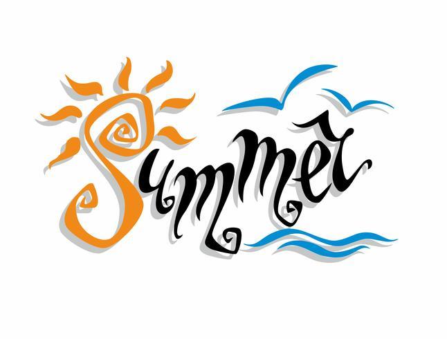Sommer. Beschriftung. Gruß. Sonne, Meer, Möwen. Gestaltungskonzept für den Tourismus. Vektor. vektor