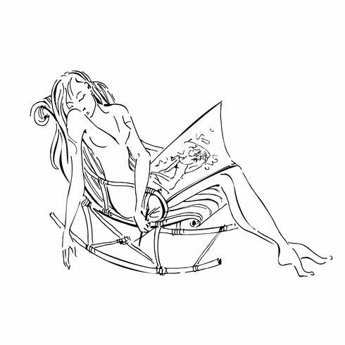 Schlafendes Mädchen Skizzieren. Das Mädchen der Künstlerin schlief nach dem Zeichnen ein. Romantisches nettes Bild. Vektor zeichnung