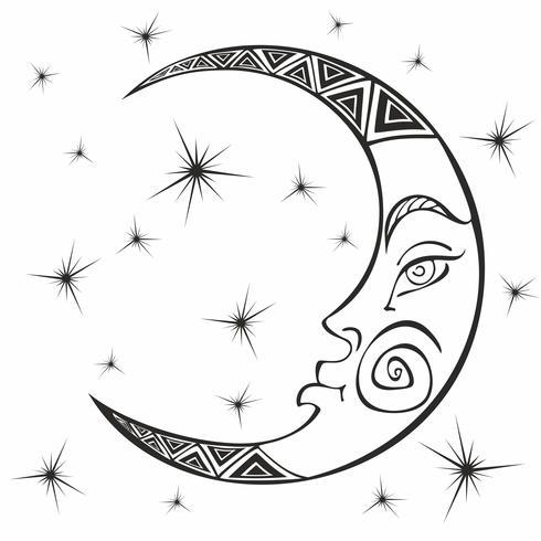 Måne. Månad. Forntida astrologisk symbol. Gravyr. Boho Style. Etnisk. Zodiacens symbol. Esoterisk mystisk. Färg. Vektor. vektor