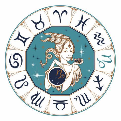 Das Sternzeichen Steinbock als schönes Mädchen. Horoskop. Astrologie. Sieger. vektor