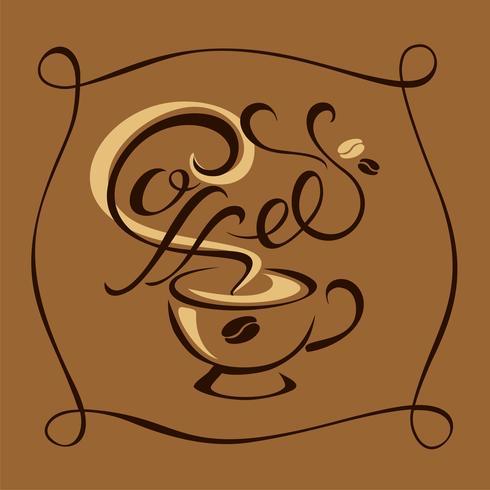 Kaffe. Text. Logotypen. handgjord ritning. Vektor. vektor
