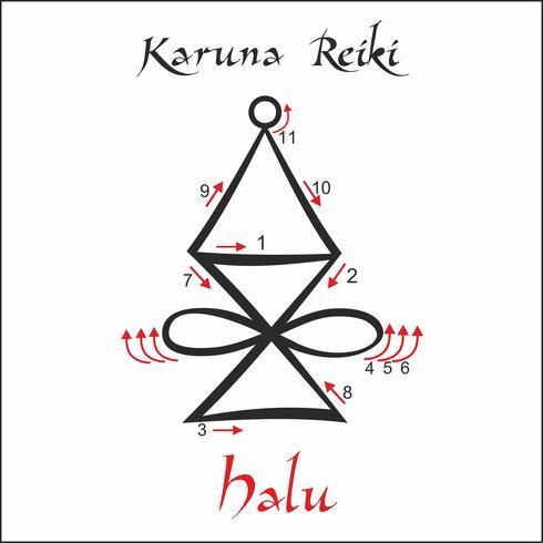 Karuna Reiki. Energieheilung. Alternative Medizin. Halu-Symbol. Spirituelle Praxis. Esoterisch. Vektor