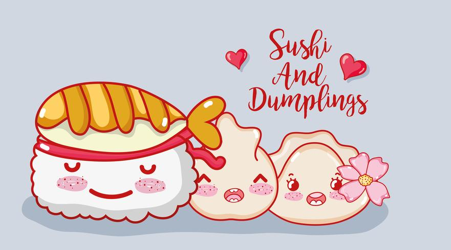 Sushi und Knödel vektor