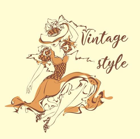 Vacker tjej i en hatt. Vintagestil . Lady i retroklänning. Boka grafik. Bokomslag. Romantisk feminin bild. Vektor illustration.
