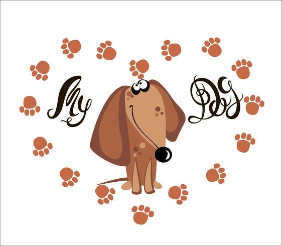 Mein Hund . Beschriftung. Dackel. Die Hundespuren. Herz. Vektor-illustration vektor