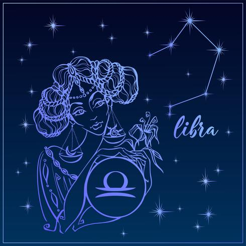 Zodiac Sign Libra som en vacker tjej. Constellation of Libra. Natthimlen. Horoskop. Astrologi. Vektor. vektor