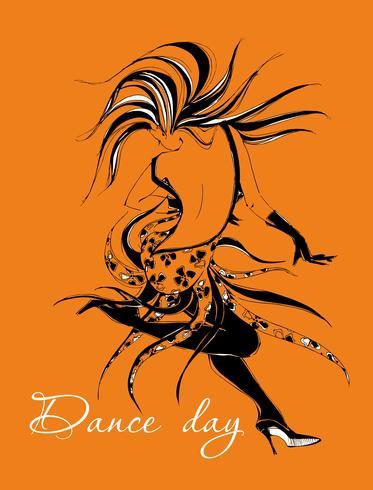 Dansdag. Gratulationskort. Dansande tjej. Dansare. Flickan rör sig i en snabb rytm av dans. Snygg grafik. Cha Cha Cha. Sällskapsdans. Latin dans. Vektor. vektor