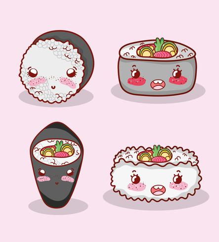 Niedlicher kawaii Cartoon des asiatischen Lebensmittels vektor