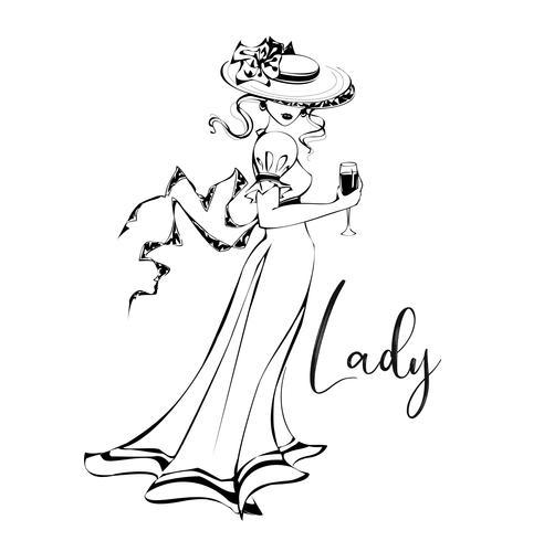 Schönes Mädchen in einem Hut mit einem Glas Wein. Dame. Inschrift. vektor