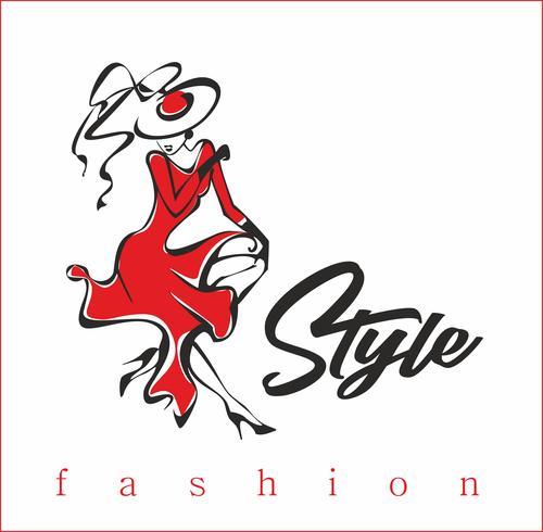 Das Mädchen zeigt ihre Kleider. Model. Style.Inscription. Design für die Schönheitsindustrie. Die Dame mit dem Hut und dem roten Kleid. Vektor. vektor