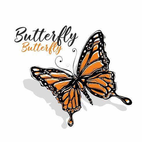 Fjäril. Naturalistritning. Skiss. Orange färg. Inskrift. Vektor illustration.