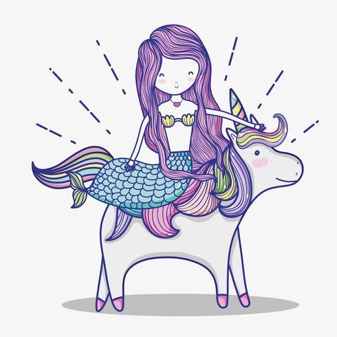 Liten sjöjungfrun med unicorn konsttecknad film vektor