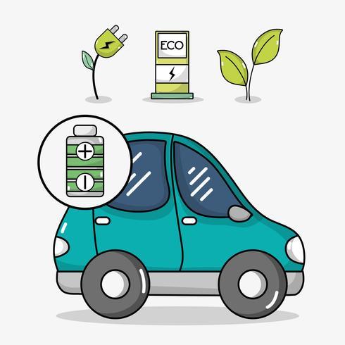 elbil med energiladdningsstation vektor