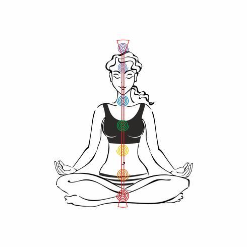 Der Energiekanal des Menschen. Chakren. Mädchen in Lotus Position. Reiki. Meditation. Vektor. vektor