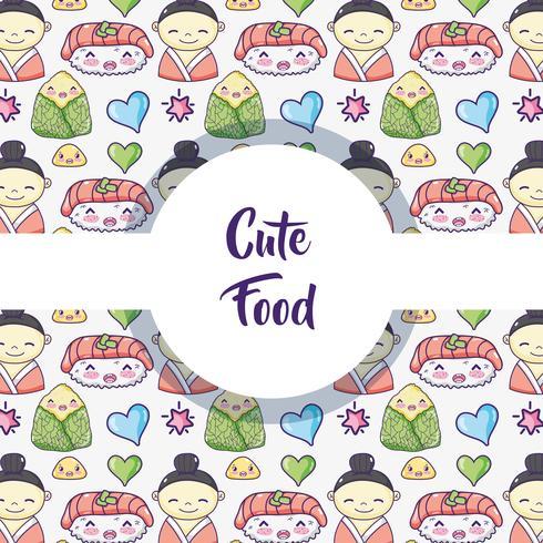 Japansk mat bakgrundsmönster vektor
