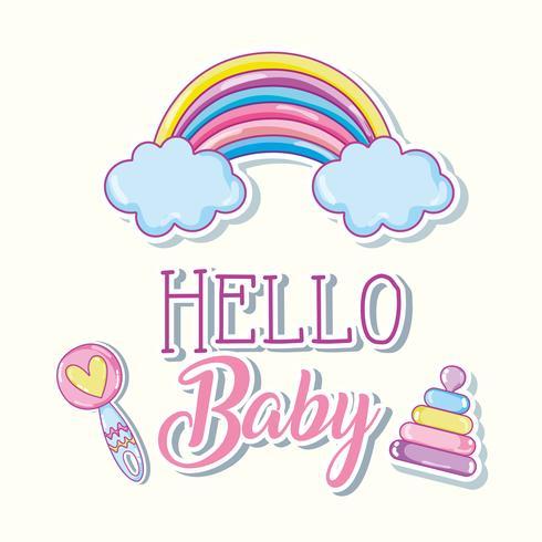 Hallo Baby-Cartoons-Karte vektor