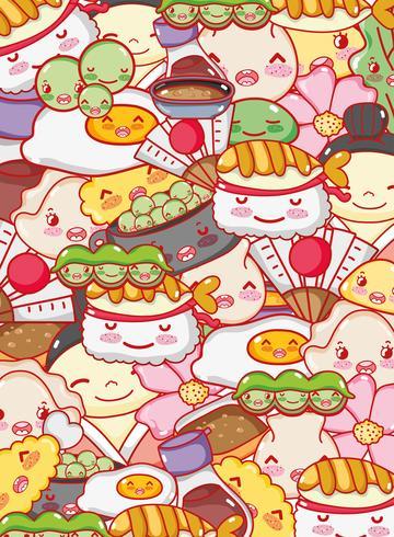 Kawaii Karikaturen des japanischen Gastronomiehintergrundes vektor