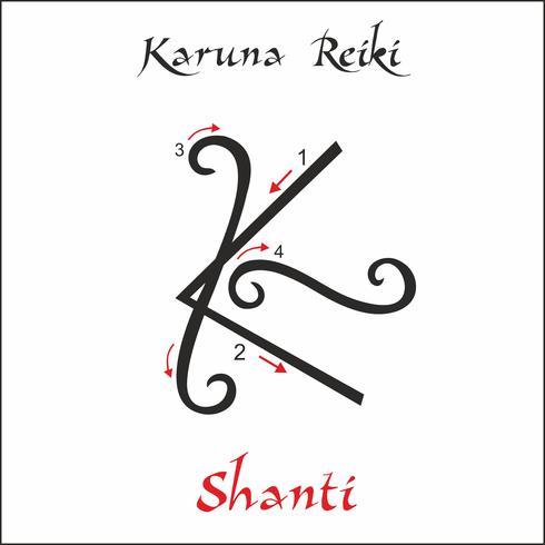 Karuna Reiki. Energieheilung. Alternative Medizin. Shanti-Symbol. Spirituelle Praxis. Esoterisch. Vektor