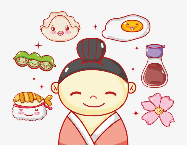 Japaner in Liebe zum Essen vektor