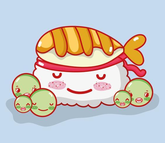 Sushi söt kawaii tecknad film vektor