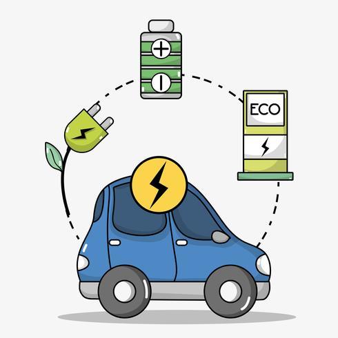 elbiltransport med batteriteknik vektor