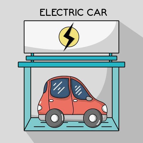 elbil med laddningsbatteri vektor