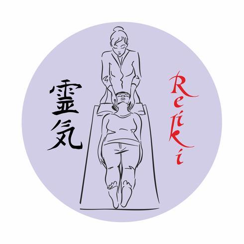 Reiki helande. Master Reiki genomför en behandlingssession för patienten. Alternativ medicin.Sketch. Logotyp. Vektor. vektor