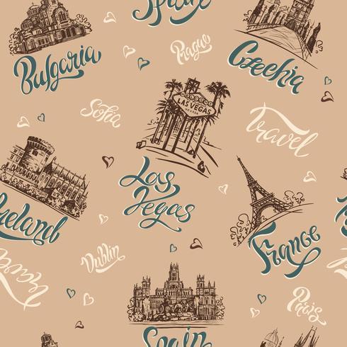 Nahtloses Muster. Länder und Städte. Beschriftung. Skizzen. Sehenswürdigkeiten. Reise. Bulgarien, Tschechische Republik, Las Vegas, Irland, Frankreich, Spanien. Vektor