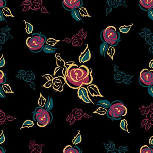 Nahtloses Muster. Blumenmuster. Rosen. Blumensträuße. Dekorativ. Schwarzer Hintergrund. Vektor. vektor