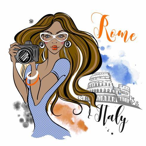 Tjejresenär reser till Rom i Italien. Fotograf. Resa. Vektor