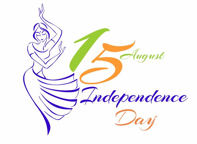 Indien Unabhängigkeitstag. Grußkarte. Skizze einer tanzenden Inderin. Vektor-illustration vektor