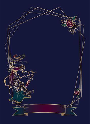 Ram. Vinjett. Vintage lady. Geometrisk ram. Mörkblå bakgrund. Vektor. vektor