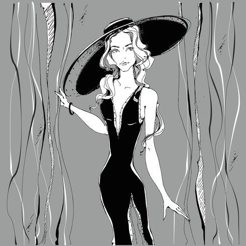Mode tjej . Skönhetsmodell i hatt. Grafik. Grå. Vektor illustration.