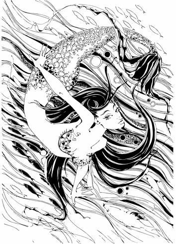 Sjöjungfru. Sagan är en myt. Undervattens värld. Fiskarna. Grafik. Vektor. vektor