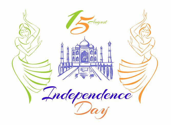 Indien självständighetsdag. Gratulationskort. Dansande indiska tjejer. Taj Mahal Palace. Vektor illustration.