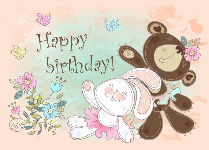Födelsedagskort med en kanin och en björn. Vektor