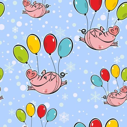 Nahtloses Muster. Fliegende Schweine auf Luftballons. Die Himmelschneeflocken. Vektor. vektor