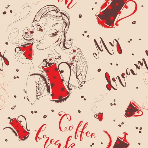Sömlöst mönster. Tjejen dricker kaffe. Coffee-break. Min dröm. Snygg bokstäver. Kaffekanna och kopp kaffe. kaffeböna. Vektor. vektor