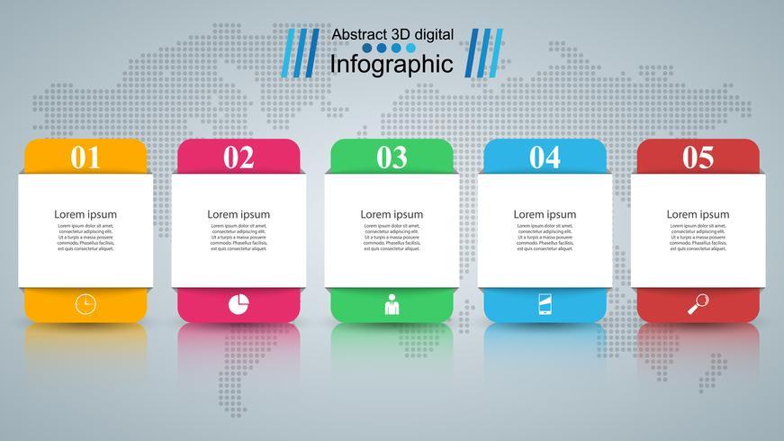 Abstrakt 3D digital illustration Infographic. vektor