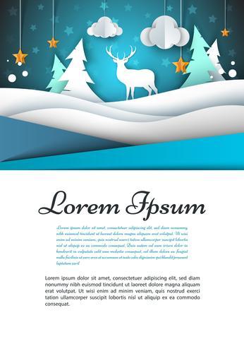 A4-mall. Vinterlandskap illustration. Fir, hjort, moln, stjärna. vektor