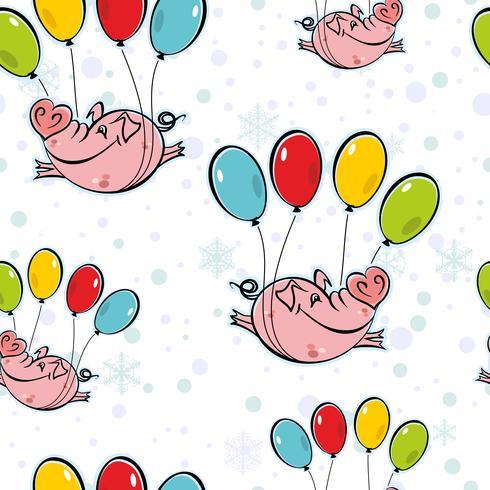 Sömlöst mönster. Flyga grisar på ballonger. Himlen snöflingor. Vektor. vektor