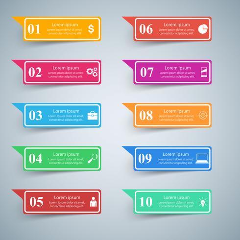 Infografisk design. Lista över 10 artiklar. vektor