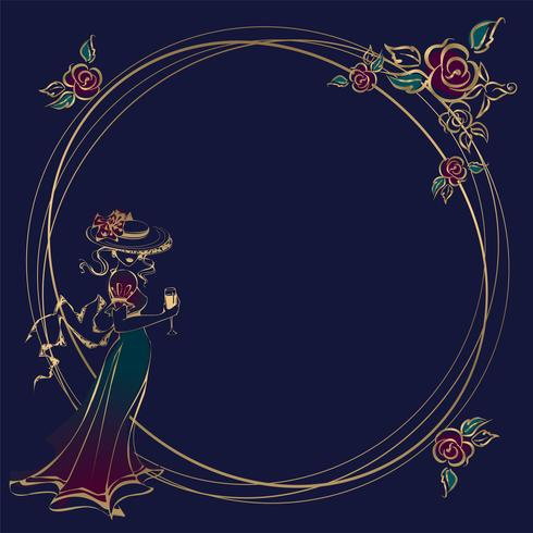 Vintage Dame. Runder Rahmen. Rahmen, Karte. Weinlesemädchen. Im Hut, mit Regenschirmen. Runder Rahmen. Gold. Blumen. Vektor. vektor