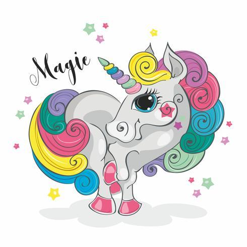 Magic enhörning. Fairy pony. Rainbow Mane. Tecknad stil. Vektor. vektor